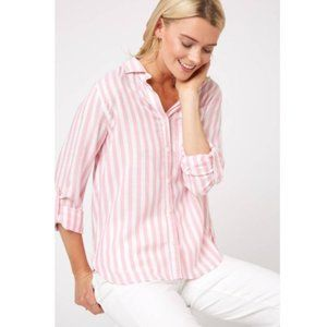 Velvet Heart Pink + White Hi-Lo Striped Button-Up